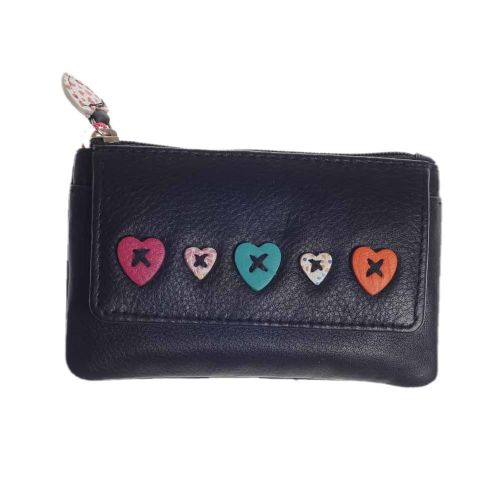 Mala Leather Lucy Collection Coin Purse in Black with RFID Protection